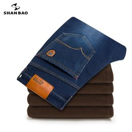 Wholesale Cashmere Jeans - SHAN BAO brand men's fashion casual jeans 2017 winter plus cashmere thickening warm clothing trousers large size 28 to 46