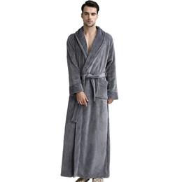 1f6d81dac1 Brand Desigher Men Plus Size Winter Thermal Long Bathrobe Thick Flannel Warm  Kimono Bath Robes Female Dressing Gown Sleepwear