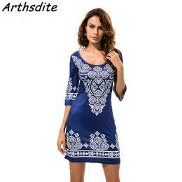 Wholesale Print Dress Baroque - Arthsdite 2018 Summer Women Vintage Ethnic Dress Baroque Style Deep O-Neck Floral Print Casual Beach Dress Boho Dashiki Vestidos