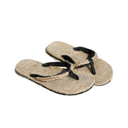 Wholesale Flax Straw - New 2017 Fashion Hemp Slippers Sandals Unisex Couples Sandals Slip Resistant Straw Flax Linen Home Slipper