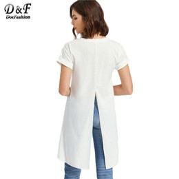 Wholesale dip hem - Dotfashion Slit Back T-shirt Women White High Low Dip Hem Brief Sexy Summer Tops 2017 New Short Sleeve Novelty Ladies T-shirt