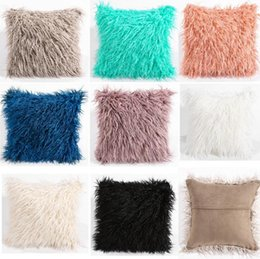 Wholesale Slip Cover Car - 45cmx45cm Simple Plush Pillowcase(No pillow) Car Casual Faux Fur Plush Throw Pillow Slip Home Seat Waist Pillow Cover Case 8 Colors