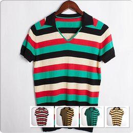 Wholesale Purple Striped Sweater - Short Sleeved Men's T-Shirt NEW Stripes Lapel Neck T-shirt Men Cotton Casual Sweaters