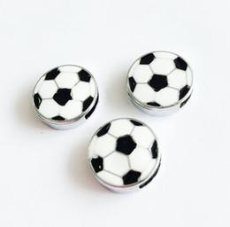 Wholesale enamel sports charms - 10PCs 8MM Enamel Soccer Slide Charms Sport Letters Fit 8MM Wristband Belts Dog Pet Name Collars Bracelets Tags