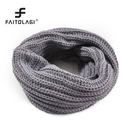 Wholesale Ladies Knit Neck Warmer - 2017 Cheap Knitted Women Scarf Winter Soft Collar Solid Color Neck Warmer Wraps Girls Ladies Fashion Match Scarves Female