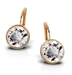 Wholesale Swarovski 18k Gold Earrings Studs - 18K Gold Plated Swarovski Elements Round Austrian Crystal Earrings Stud fashion jewelry wedding gifts for women