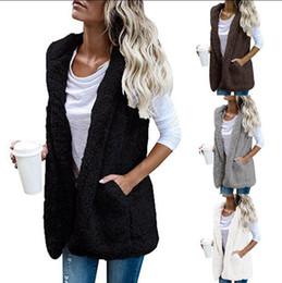Wholesale Sleeveless Vest Fur - Women Hooded Vest Winter Warm Jacket Hoodie Outwear Faux Fur Zip Up Sherpa Casual Coat OOA4231