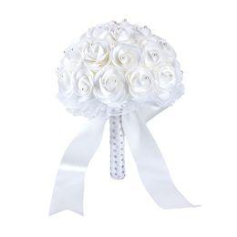 Розовый свадебный букет Красочные свадебные аксессуары Белый Искусственный цветок невесты Жемчуг Бисер Невеста с цветами в руках CPA158292 от