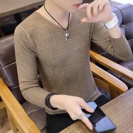 7a9f67b198e Korean Style Casual Men Knitted Sweaters V-Neck Solid Big Boy Pullover Wool  Sweater Slim Men Knit Wear Coat v neck sweater men wear outlet