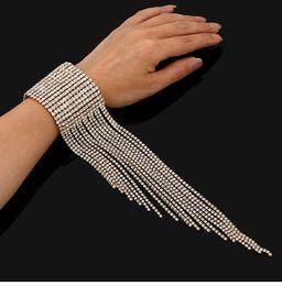 Europa e América exagerada luxo borla moda pulseira multi linha multi camada flash de cristal diamante brilhando senhoras jóias pulseira de
