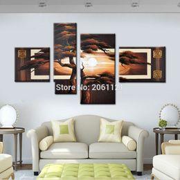 pinturas paisajes de árboles Rebajas Pintado a mano 4 piezas de pared paisaje árbol paisaje negro marrón Moderno abstracto pinturas al óleo de lona para sala de estar decoración de la pared