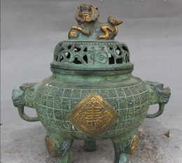Wholesale chinese lion art - Old Chinese Bronze Gilt Lion lion beast Incensory Incense Burner Censer Statue