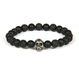 skull bracelet clasps Coupons - New Design Silver Stainless Steel Skull Bracelet Wholesale 10pcs lot Not Fade Beaded Bracelets With 8mm Natural Stone