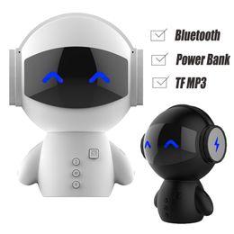 Wholesale car bass - DingDang Cute Robot Smart Blueototh Speaker Power Bank Portable Cartoon Speakers Super Bass Stereo Music Call Car Handsfree TF MP3 AUX M10