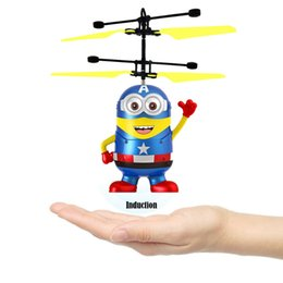 Wholesale Indoor Remote Helicopters - RC Toy Flying remote control Spaceman Helicopter induction aircraft toy helicopter drone indoor children gift Toys
