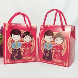 Chinês noiva noivo favor caixas on-line-Vermelho Chinês Tradicional Noiva E Noivo Caixa De Doces Saco De Presente De Papel Com Alça Favor Do Casamento E Presente QW8394