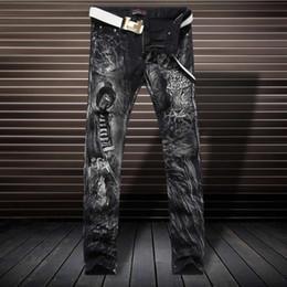 Wholesale Leopard Jeans Men - Luxury 3D Leopard Print Jeans Fashion Slim Black Trousers D4190