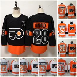 b0616dcb4 Philadelphia Flyers Jersey 28 Claude Giroux 53 Shayne Gostisbehere 17 Wayne  Simmonds 93 Jakub Voracek 19 Nolan Patrick arancione bianco cucita sconti  giroux