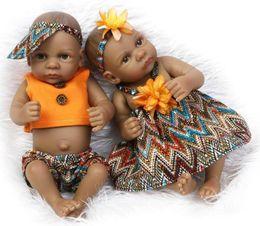Jouets de corps en latex en Ligne-En gros 10.5 pouce poupée noire américaine fille bébé poupée complète Silicone Body Bebe Reborn bébé poupées enfants cadeau jouets play house jouets