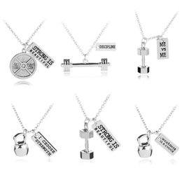 Wholesale fitness necklaces - Fashion Gym Sport Jewelry Inspirational Strong Discipline Dumbbell Necklace Pendants Fitness Jewelry for Men Women DROP SHIP 380008