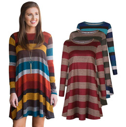 Wholesale Swing Tops - Women Long Sleeve Striped Tunic Mini Dress Tops Fashion Shirt Swing Loose Blouse Evening Party Dress LJJO4594