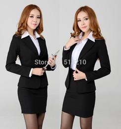 Wholesale Women Working Suits Design - 2015 New Plus Size Professional Business Women Work Wear Suits Blazer And Skirt Autumn Winter Uniform Design Blazers Free Ship