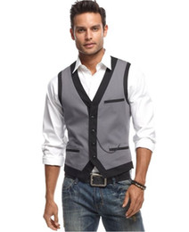 Wholesale dinner suits for men - 2018 New Design Gray And Black Vest For Men Wedding Prom Dinner Suit Waistcoats Mens Vests Custom Made colete masculino terno