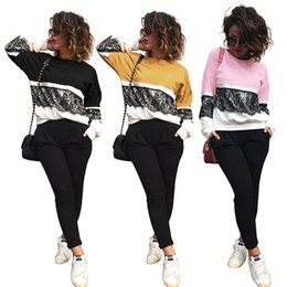 Wholesale Ladies Cotton Long Tunics - Women T-Shirt Fashion New Arrival Clothing Lady O-Neck Long Sleeve Contrast Color Striped Lace Patchwork Tunic Tops Female T Shirt
