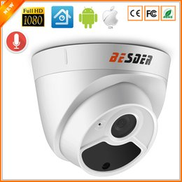 Wholesale Internal Camera - BESDER Full HD 1080P Security Camera Indoor Dome IP Camera Audio With Internal Microphone 48V PoE P2P ONVIF Email Motion Detect