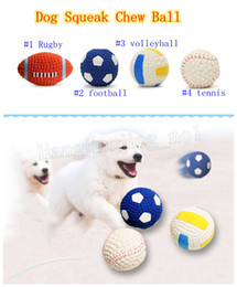 Wholesale football pets - Dog Squeak Chew Ball Toys Pet Durable Latex Balls Interactive Toy for Puppy Dogs Rugby Football Puppy Teething Chew Toys MMA197
