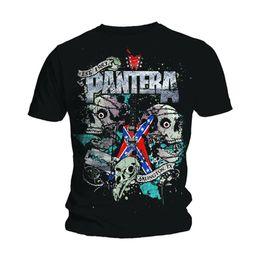 Tees de guitarra online-Pantera Skulls Dimebag Darrell Guitar Metal Camiseta con licencia Camiseta Hombre manga Harajuku Tops Hot Cheap Men'S