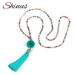 Wholesale Boho Statement Necklace - Statement Necklace Maxi Strand Collier Women Necklaces Crystal Bead Tassel Pompon Vintage Long Pendant Boho Jewelry 2018