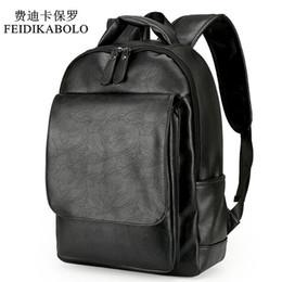 Wholesale business laptop backpacks for men - Leather Men Backpack For Man 2017 Backpacks Black Backpacks Male Fashion Rucksack Schoolbags Black Backpack Business Laptop Bags