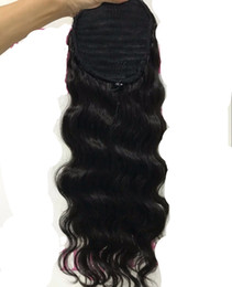 brazilian body wave hair ponytail Coupons - 100% Brazilian Clip In Human Ponytail Hair Extensions Body Wave Drawstring ponytail Hairpieces Cuticle Aligned Hair Wavy ponytails 140g