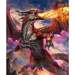 Wholesale wall dragon decor - Big Fire Dragon Design DIY 5d Diamond Painting Manual Cross Stitch Mosaic Rhinestone Shining Decor For Home Furnishing And Wall 14lxa Z