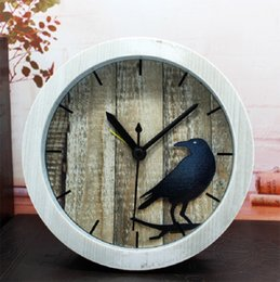 Wholesale Al Plastic - bird imitation wood home decor reloj despertador al fajr clock watches quartz digital automobile clock retro watch plastic