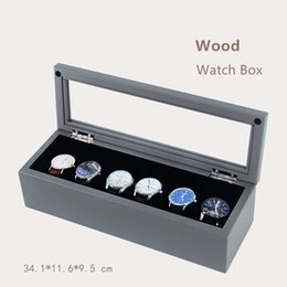 Wholesale wood ash - Han 6 Slots Wooden Watch Box Space Ash High-grade Watch Display Box Fashion Storage Boxes Jewelry Case With Pillow W029
