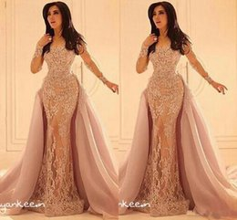 Wholesale Lace Over Satin Dress - Long Sleeves Formal Arabic Evening dresses Lace Appliques Crew Sheer Over Skirts Mermaid Prom Gowns Long Formal Wear
