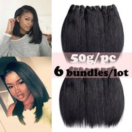 6 Demetleri Perulu Düz Saç Demetleri 50 g / paket Saç Uzatma 100% Işlenmemiş Gerçek Saç Dokuma Doğal Renk 8-22 Inç nereden