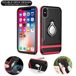 Магнитный чехол для кольца Металлический держатель Чехлы для сотовых телефонов Противоударные защитные чехлы Автомобильный держатель для iPhone X 9 7 Plus Samsung Note9 S9 от