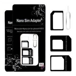 Canada Noosy 4 en 1 Nano carte SIM Micro Sim Standard Adaptateur Convertisseur Ensembles avec éjecter la clé pour iPhone 4 / 4S / 5 / 5S / 6 Livraison DHL gratuite Offre