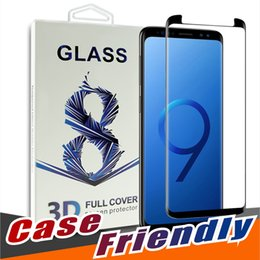 Wholesale Galaxy Note 3d Cases - For Samsung Galaxy S9 S8 Plus Note 8 S7 Edge Full Cover 3D Tempered Glass Case Friendly Bubble Free Screen Protector With Package