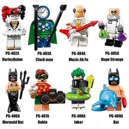 Wholesale Wholesale Mini Clocks - New Style Minifig Super Heroes Series Mix Lot Joker Robin Mermaid Bat Clock Man Hugo Strange PG8106 Minifig Mini Building Blocks Figures