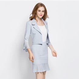 379a74d1be3b Plus Size Blazer Women Office Skirt Suit Set Blue Business Skirt Ladies  Summer Work Tailleur Jupe Blazer Two Piece Set KC5C052