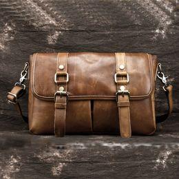 Genuine Tanned Leather Cowhide Business Messenger Bags Men Vintage Large  Capacity Briefcase Luxury Sling Cross Body Shoulder Bag 04c4bfbf9dc85