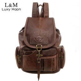 Старинные женщины рюкзак для девочек-подростков школьные сумки мода большие рюкзаки высокое качество искусственная кожа черный мешок коричневый новый XA658H от Поставщики рюкзак из коричневого pu кожи