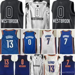 Wholesale Paul George Jersey - 2018 New #0 Russell westbrook 7 Carmelo Anthony Jersey Men's 13 Paul George Basketball Jerseys stitched Blue White Black Jersey