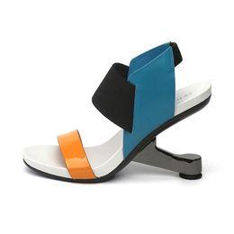 Wholesale black color block dress - Euro Fashion Women Summer Sandals Color Block Formal Dress Wedding Shoes Woman Gladiator High Heels Chaussure Femme Sandalias