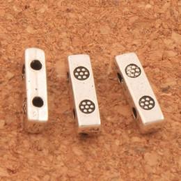 Raccordo di fusione online-400pcs / lotto 2 perline fiore distanziatore 3x10mm adatto per 4-6mm perline argento anticato metallo fuso connettori distanziatori bar L825 LZsilver