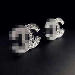 Wholesale Girl Earrings - Delicate Double Layers Letters Ear Stud Clip Clear Crystal Rhinestone Earrings Women Girl Wedding Party Jewelry Accessory